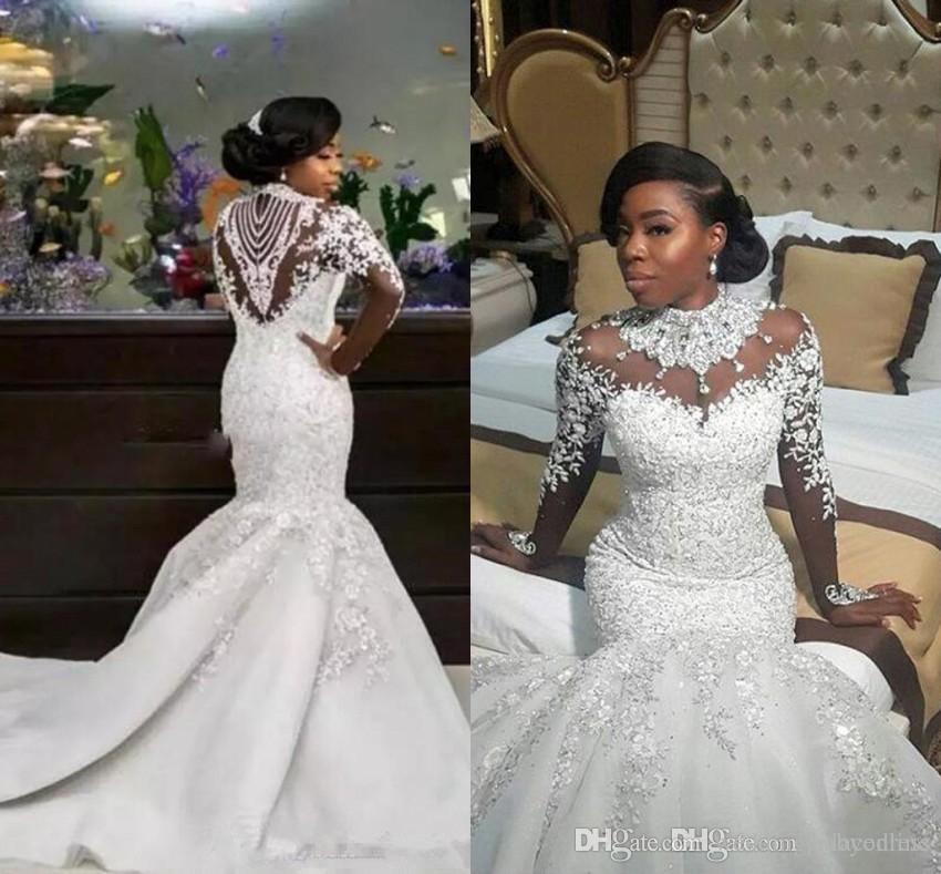 Luxo Africano Plus Size Sereia Vestidos de Casamento 2019 Sheer Mangas Compridas Para Meninas Negras de Alta Pescoço Beads Apliques de Tribunal Trem Vestidos de Noiva