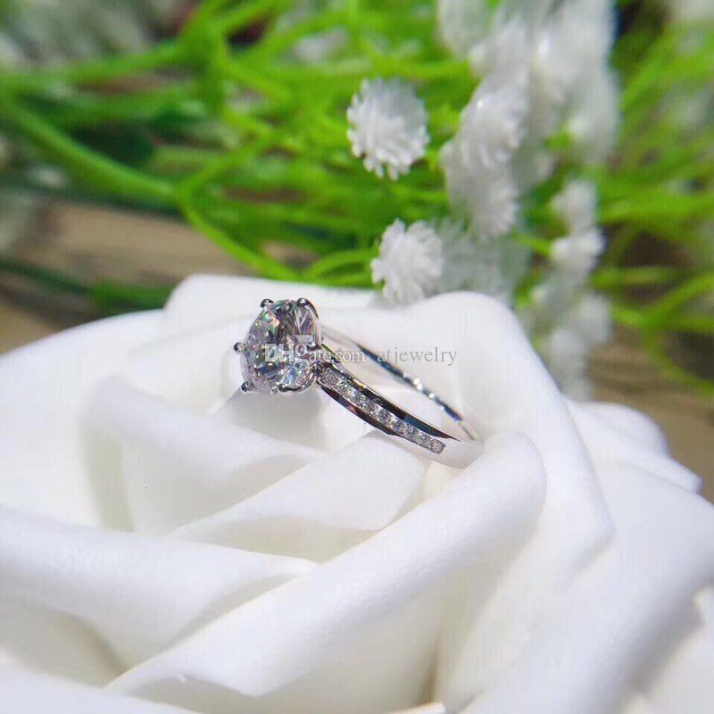 Изготовленный на заказ муассанит бриллиантовое кольцо классический стиль 18k белое твердое золото ювелирные изделия Кольца для женщин обручальное AU750 штампованные Оптовая доставка падения