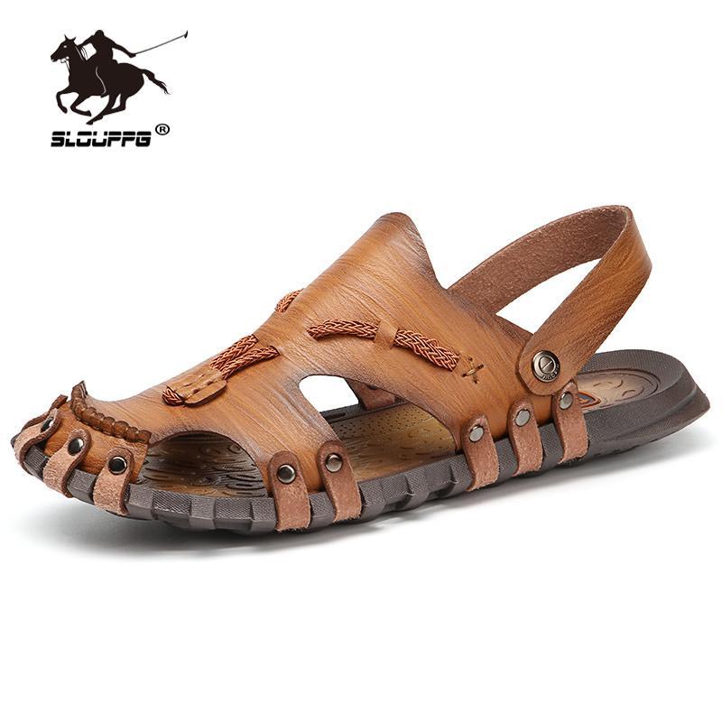Scarpe Leather Shoes Estate Uomo Large Size sandali degli uomini di tessitura romana pantofole dei sandali degli uomini di esterno comodo pistoni della spiaggia