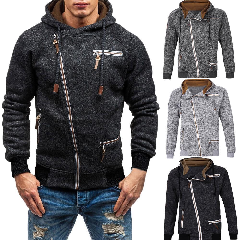 Il rivestimento degli uomini di cotone Autunno a maniche lunghe Zipper Outerwear Coats modo di alta qualità Miscela Giacca chaqueta hombre 18SEP12 uomo