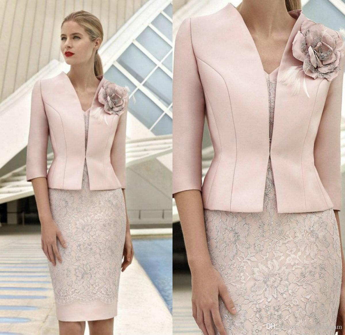 Elegant Pink Mother Of The Bride Dresses With Jacket Lace Appliqued Beads Wedding Guest Dress Knee Length Flower Formal Mother Outfit Prom