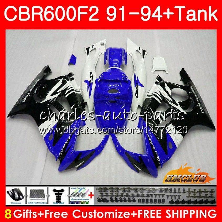 Kit + tanque para HONDA CBR 600cc 600F2 CBR 600 F2 FS 91 92 1991 1992 40HC.307 CBR600FS CBR600 F2 CBR600F2 93 94 1993 1994 azul de valores de carenados