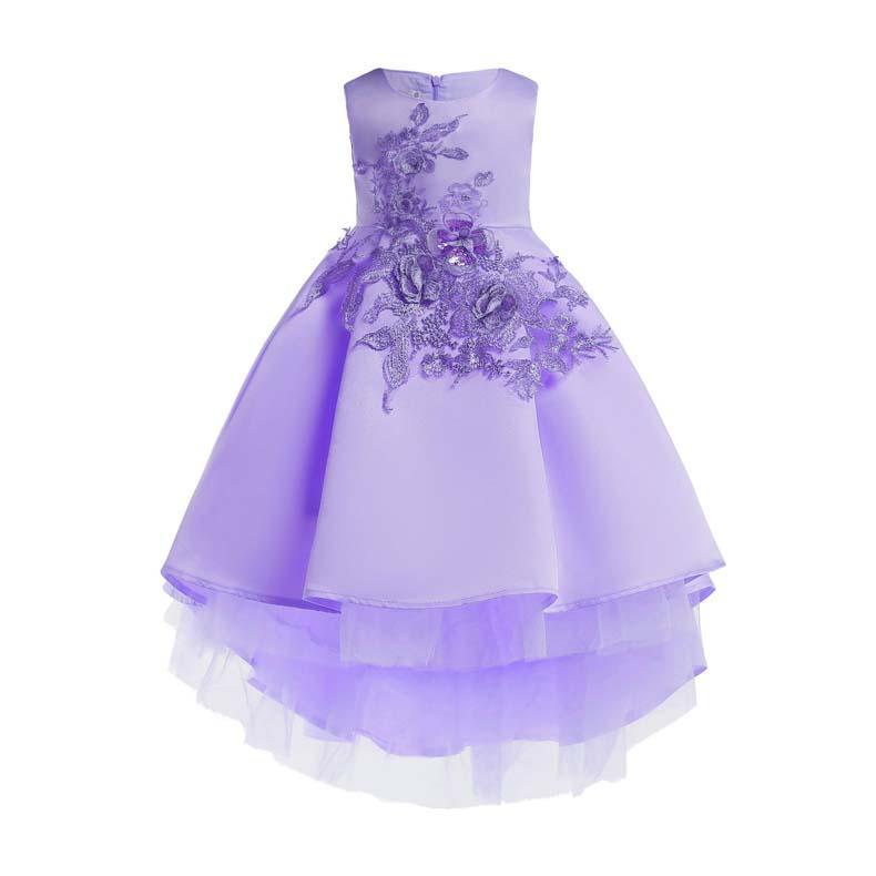 ins visten verano de las muchachas de la solapa de la academia sin mangas niños arrugada falda bordada pleatedhigh vestido de la princesa cordón de la calidad del bebé