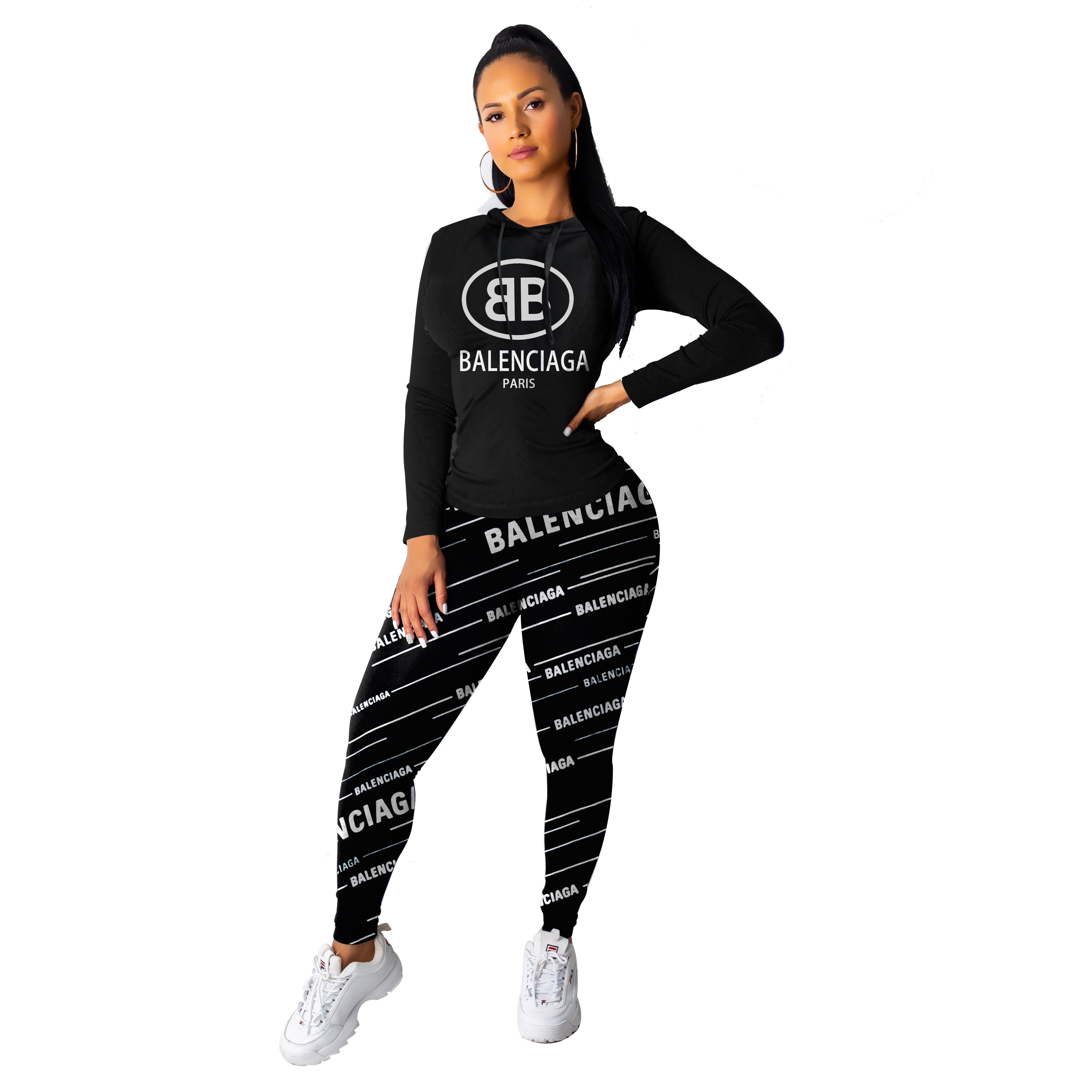 여성 디자이너 패션 운동복 고급 의류 세트 긴 소매는 + 바지 세트 여자의 인과 관계가 운동복 도매 인쇄 두 조각 탑