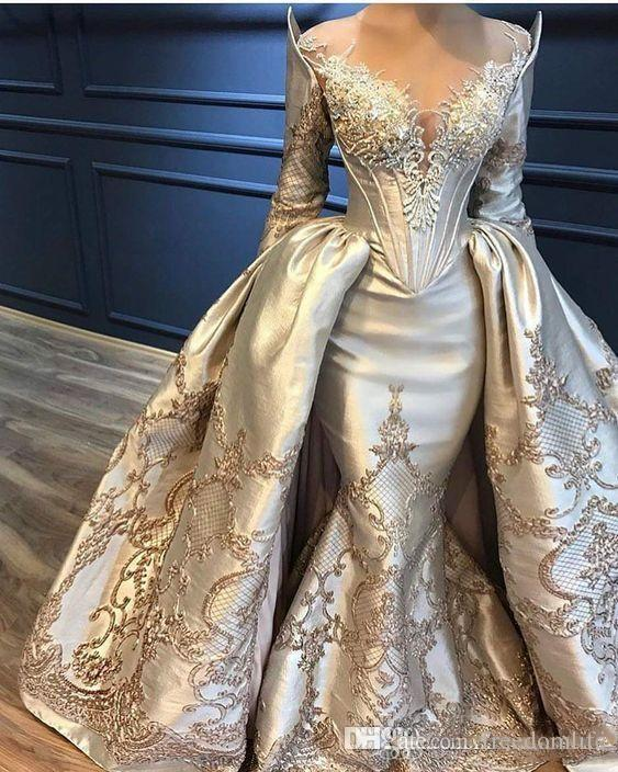 Ziad Naked Mermaid Prom Dresses Overskirts Long Sleeve Lace Appliqued Beads Evening Dresses Yousef Aljasmi Party Gowns Formal Evening Gowns
