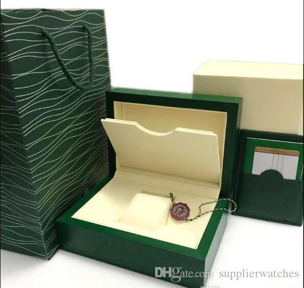 Scatola Super Green Box Green Box Papers Mens Guarnizione regalo Scatole Borsa in pelle Scheda di cuoio 0.8kg per Rolex Hook Box con Borsa