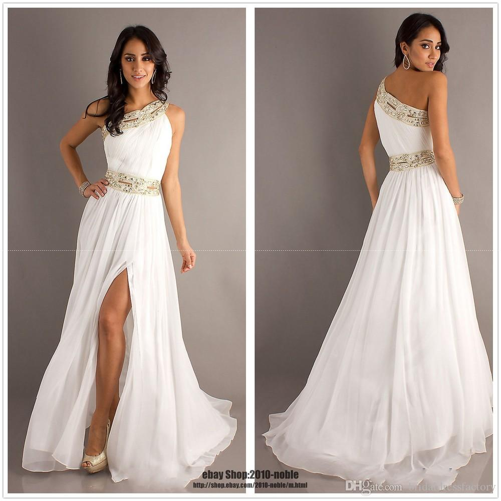 fast shipping in stock sexy open leg prom gowns one shoulder handmade beading crystal white chiffon evening dresses