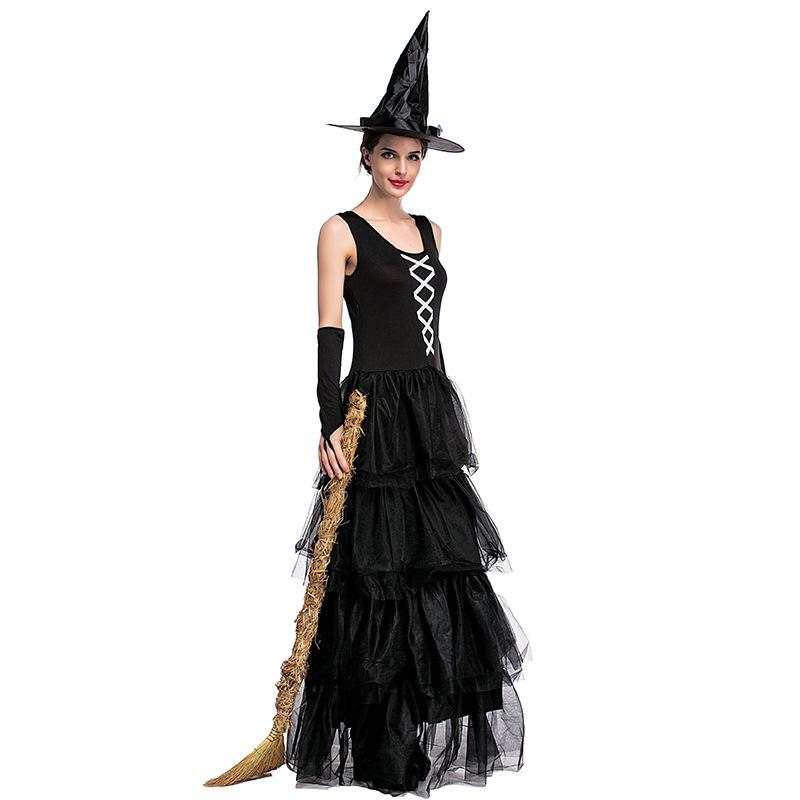 Costume da Halloween alla moda in stile gotico Costume da vampiro strega sexy Costume da donna nero Masquerade Party Ghost Cosplay Dress + Cappello + Bracciale