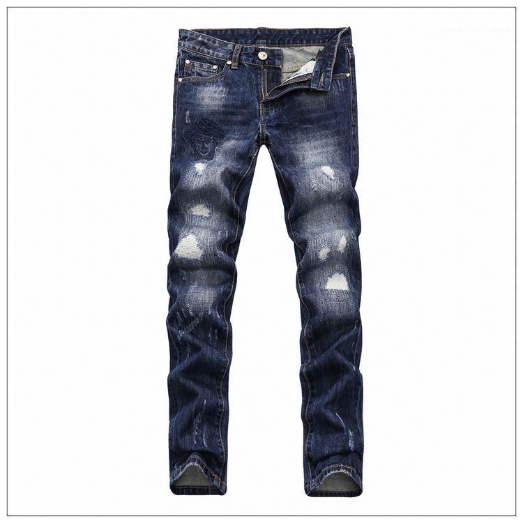 Kot Bahar Yeni Medusa Deep Blue Skinny pantolonlar Tasarımcı Delik Elastik Fermuar Jeans 2019 Vogue Erkek