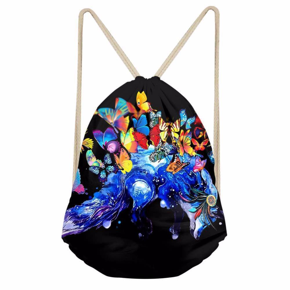 Sexy2019 Noisydesigns The Glittering Butterfly Charming Drawstring Bags Portable Backpacnoble String Shoes Pocket Travel Accessories