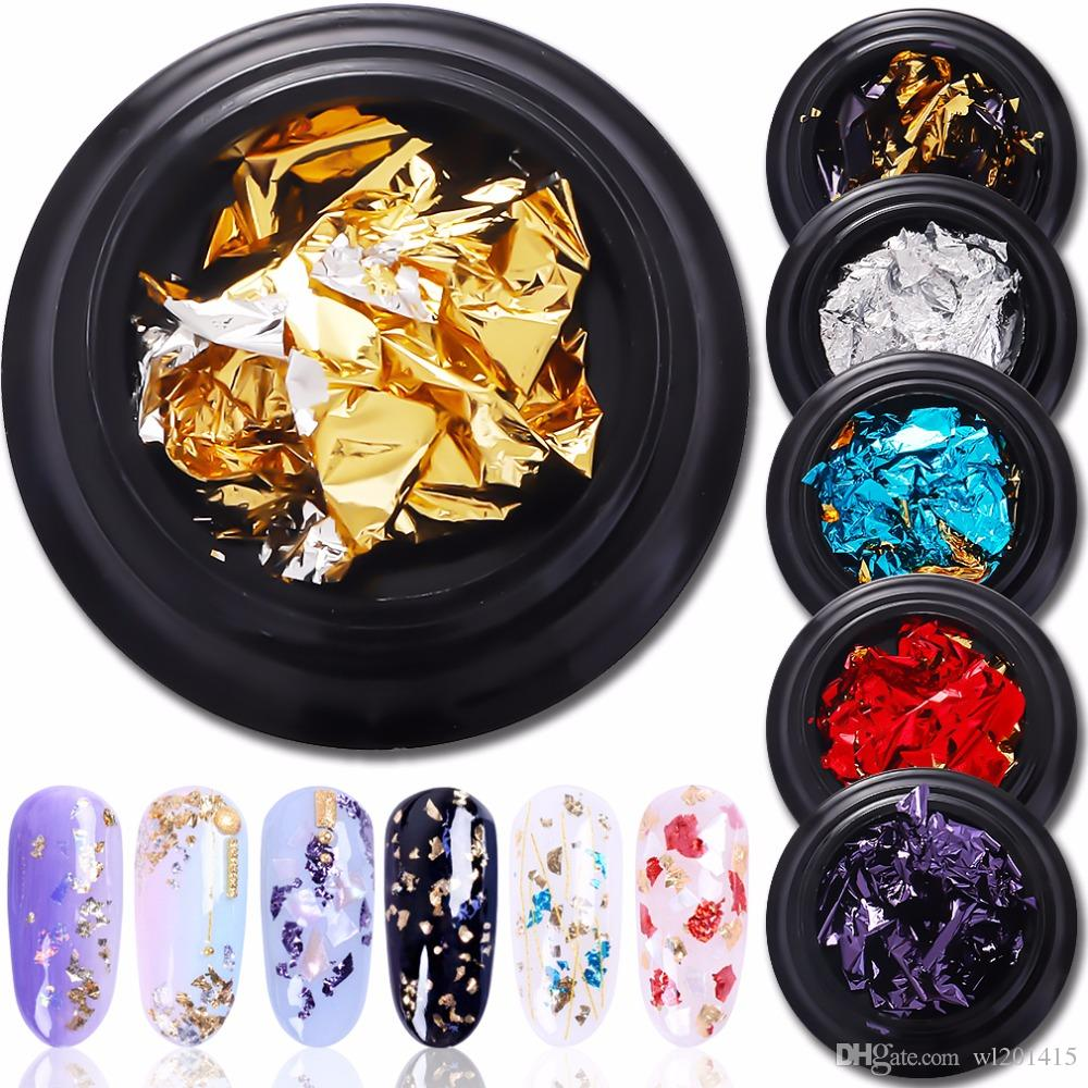 8 couleurs Or Argent Glitter Nail Sticker Red Flake Chip feuille de papier Nail Art Décoration Paillette Manucure Sequin Outils Decal