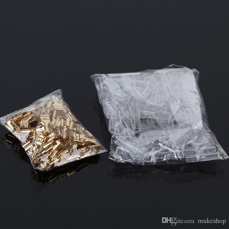 Conector 200PCS Hombre / Mujer Spade Crimp aislamiento eléctrico de la manga del abrigo del alambre Conector para 22-16 AWG Kit de Oro Brass Soldadura
