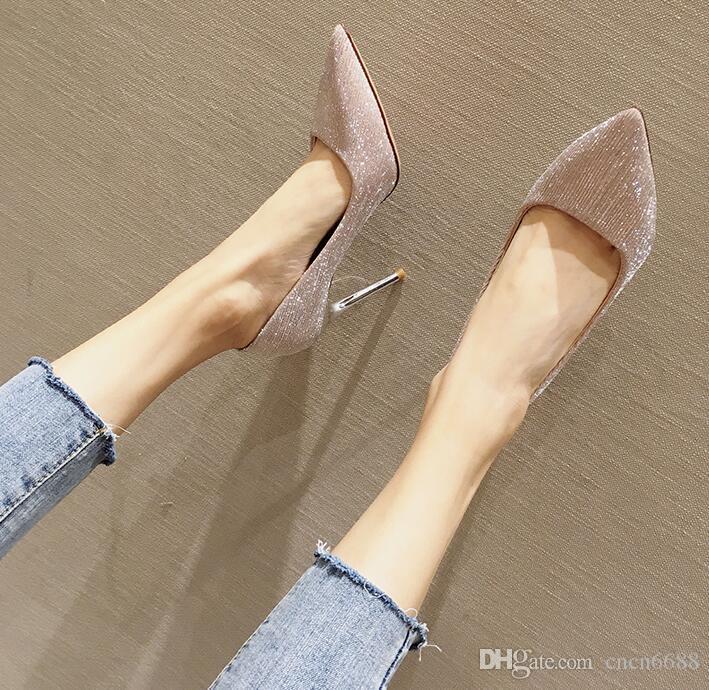с коробкой Роскошная леди Gold замша насосы Sexy женщин Яркие кожаные остроносые стилет платье обувь Пром туфли на высоком каблуке