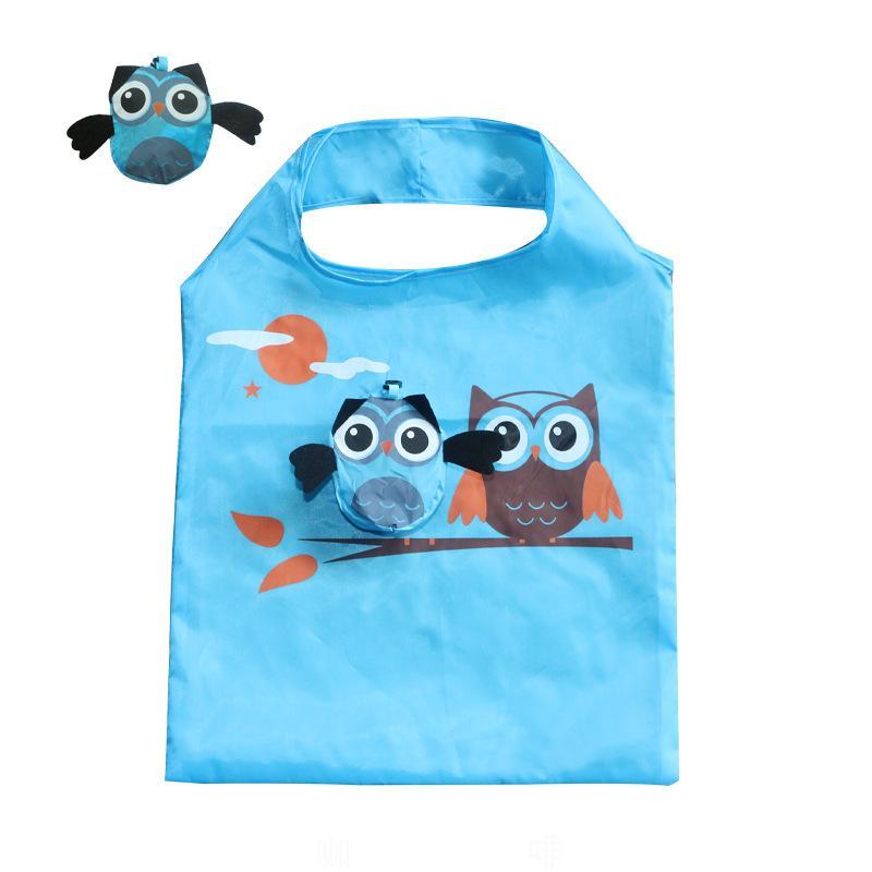 حقائب الكرتون البومة حقيبة تسوق طوي بقالة حمل البومة شكل أكياس التسوق القابلة لإعادة الاستخدام حقيبة مضادة للماء خزائن المطبخ منظمة GGA3203-2