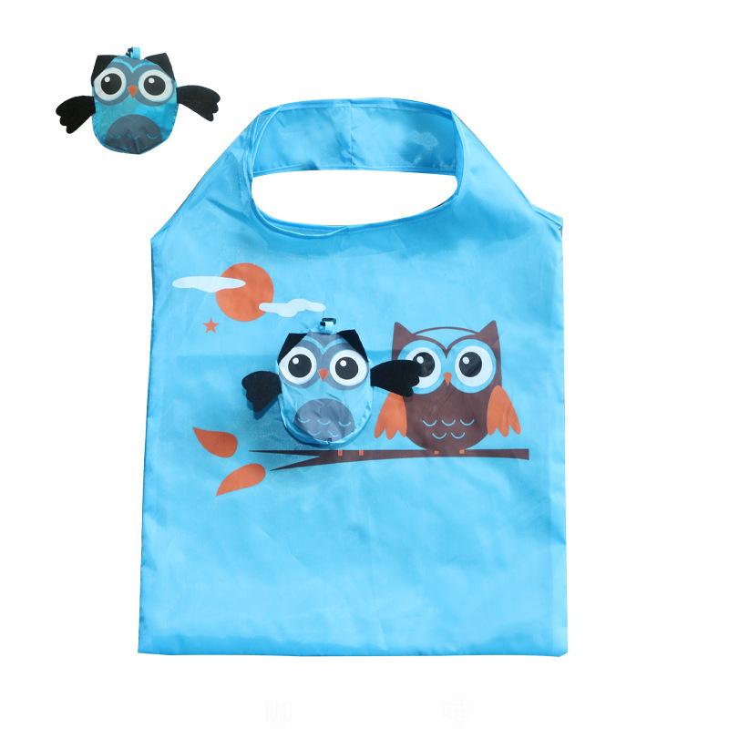 Cartoon Owl Shopping Bag Foldable Grocery Bags Tote Owl Shape Shopping Bags Reusable Waterproof Storage Bag Kitchen Organization GGA3203-2