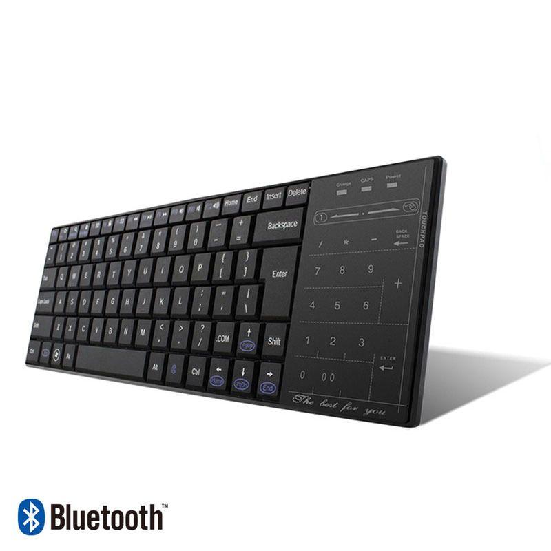 جودة عالية BT-10 بلوتوث 3.0 لوحة المفاتيح اللاسلكية التي تعمل باللمس الوسائط المتعددة الوسادة مع ماوس وضع لوحة المفاتيح قابلة للشحن للكمبيوتر لوحي ويندوز ماك / IOS أحد