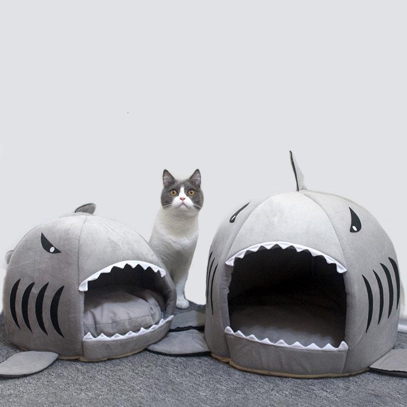 Gato caliente Mat tiburón Forma perrera de la casa caliente gatitos cama una carpa Mats dos usos de la perrera del gato Camas al aire libre Productos para Mascotas Gatos cesta SH190926