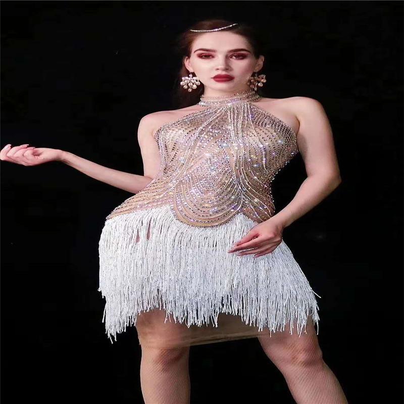 V9 Salle de bal danse strass latin cristal robe jupe pompon manches élastique tenue EFFECTUER robe de soirée de pole dance costume de scène porte