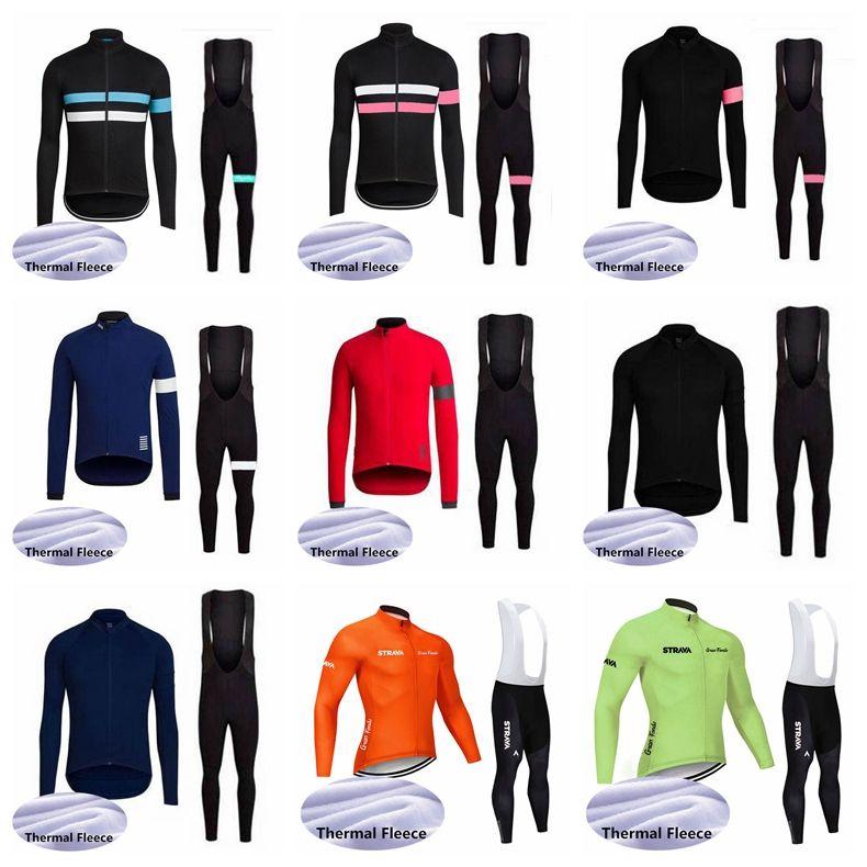STRAVA RAPHA team Cycling Winter Thermal Fleece jersey bib pants sets MTB Clothing Men Winter Bicycle Clothes Cycling Wear S122723