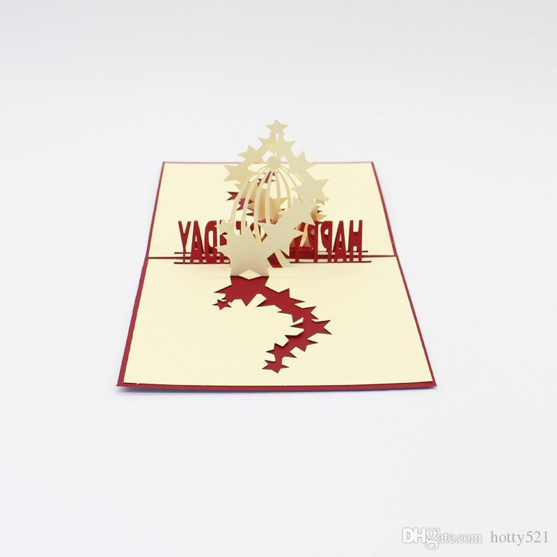 3D Pop UP Tarjetas de bendición de felicitación de regalo Hecho a mano papel Silhoue Creativo Feliz Birhtday tarjetas de navidad Envío Gratis