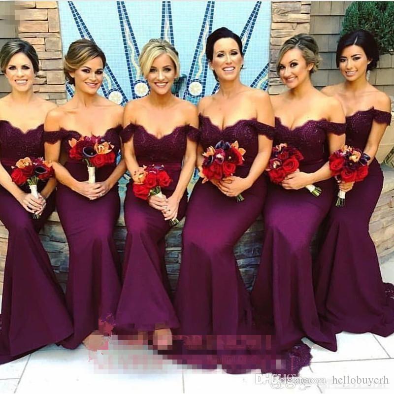 Vestidos de dama de honor de color borgoña de encaje árabe precioso 2019 sirena formal fuera del hombro con volantes Jardín de la vendimia Invitado Invitación de dama de honor Vestidos
