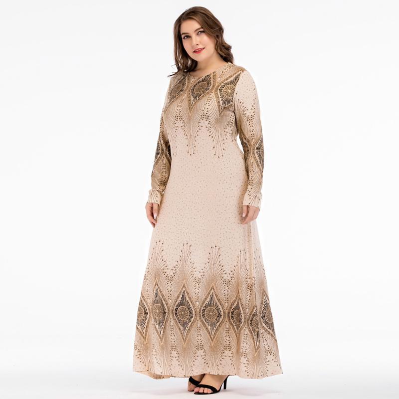 2018 Abayas Muslim Dress Dubai abaya Geometric marokkaanse kaftan islamic dresses for Women vestidos 3XL 4XL