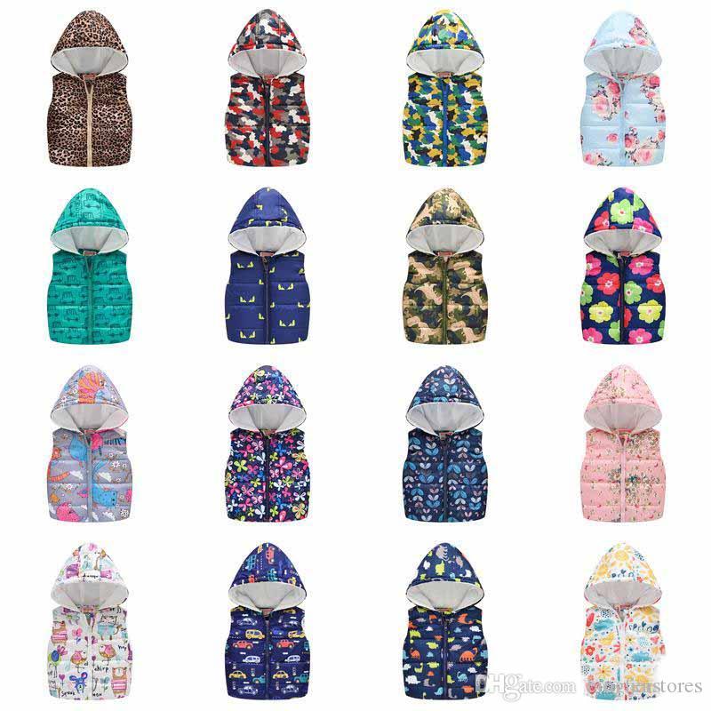 Sonbahar Kış Sıcak Çocuklar Çiçek Yelekler Kızlar Karikatür Giyim Çocuk Kolsuz Kapşonlu Ceketler Parkas Jile Bebek Pamuk Mont