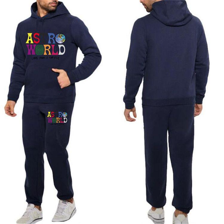 Mens Casual Tracksuits Astroworld Letters Printed Hoodies Pencil Pants Joggers Pantalones 2pcs Clothing Sets Y-1