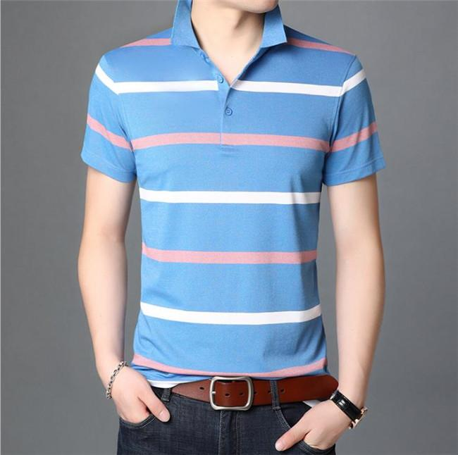 Mens Striped Plus Size Polos Man Summer Designer Lapel Neck Short Sleeve Tees Men Business Breathable Clothes