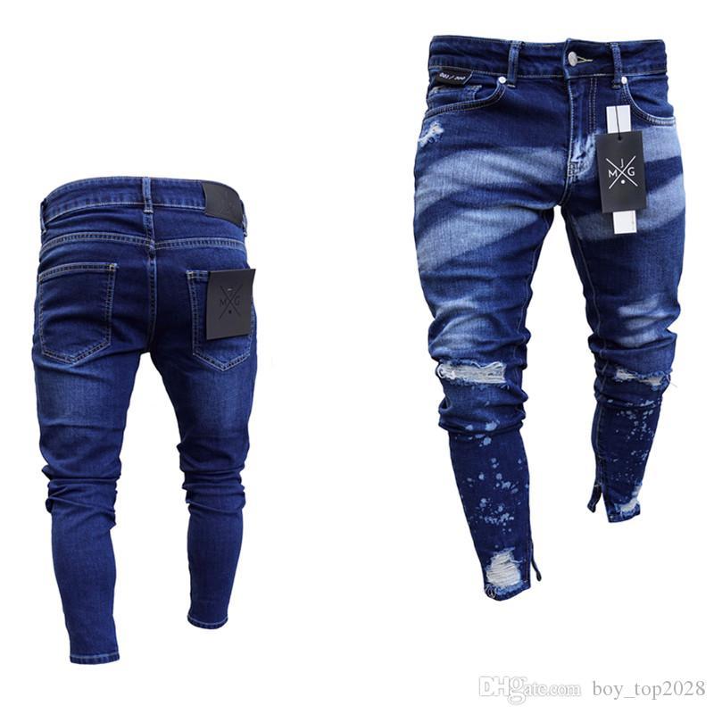 Европа и Соединенные Штаты Америки популярные колено полые отверстия мужские ноги брюки взрыв краска молния личности тонкий мужские джинсы S-3XL
