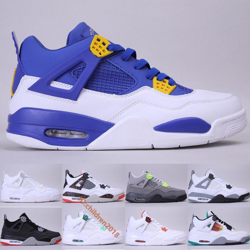 أحذية JumpMan 4 IV كرة السلة للرجال 2020 مصمم الأزرق الملكي المعدني الأحمر أخضر أرجواني النيون النقي اسمنت المال الأبيض حذاء رياضة حجم 40-47