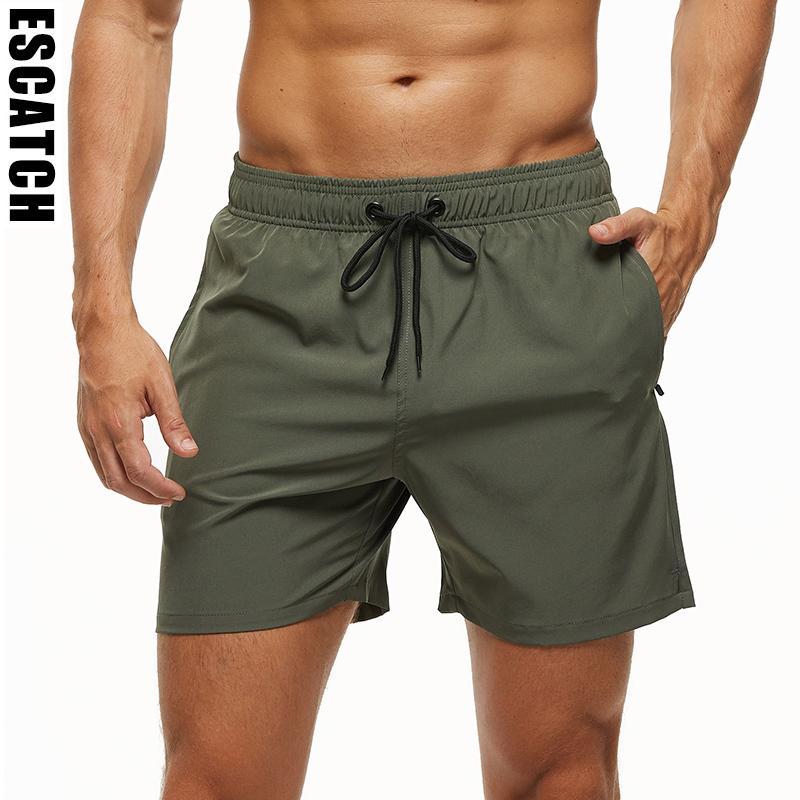 Escatch Marca 2020 de Homens estiramento sunga Quick Dry Shorts de praia com bolsos com zíper e forro em malha ES801 T200604