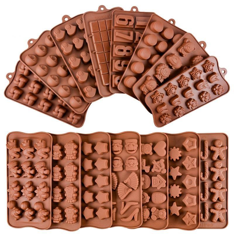 3D Moule chocolat en silicone Outils de cuisson antiadhésif gâteau en silicone moule 3D Jelly et Candy Chocolate Mold
