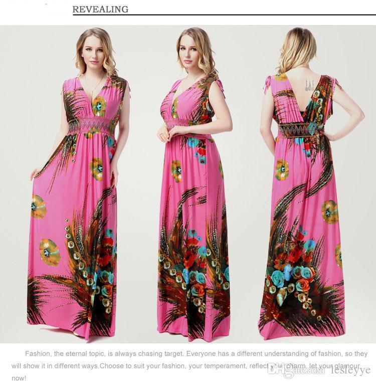 Impresión floral Maxi vestidos para mujer Beach Club Casual Tamaño floja de la gasa sin mangas de cuello en V de largo más de moda Boho ropa