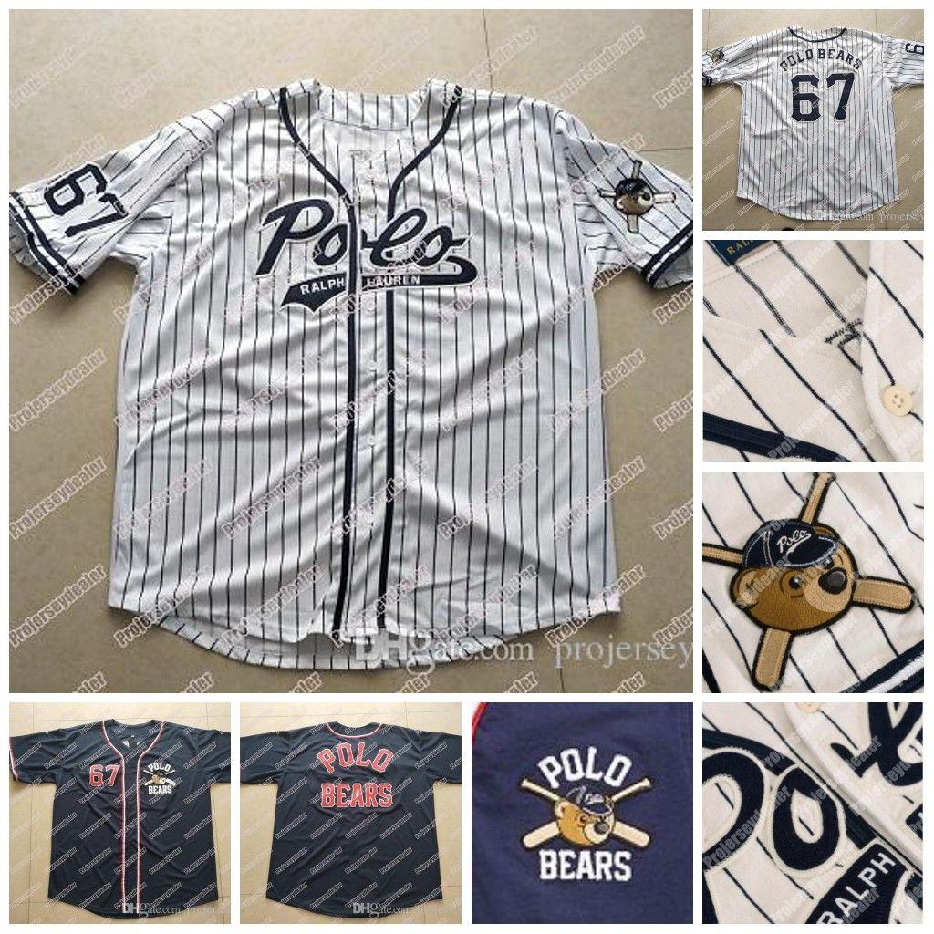 67 Polo Bears New Polo Polo Teddy Bear Baseball Jersey Doppio nome cucito Nome e Number Baseball Jersey per Mens Womens Youth