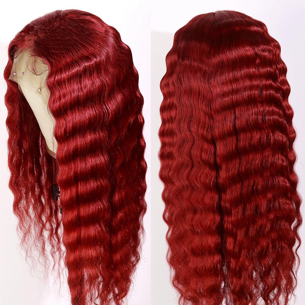 Vorgepftete rote Farbe lange tiefe Welle 13x4 Spitze vorne menschliche Haarperücken mit Babyhaar brasilianische remy transparente Spitze