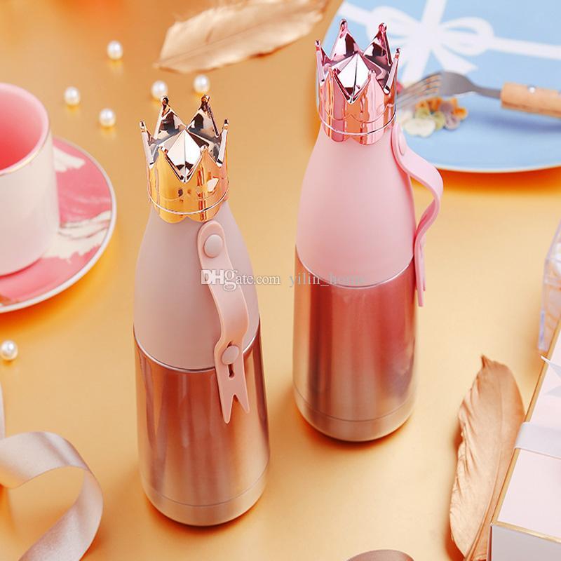 크라운 물병 진공 컵 304 스테인레스 스틸 퀸 보온병 여행 물병 야외 Drinkware 4 색