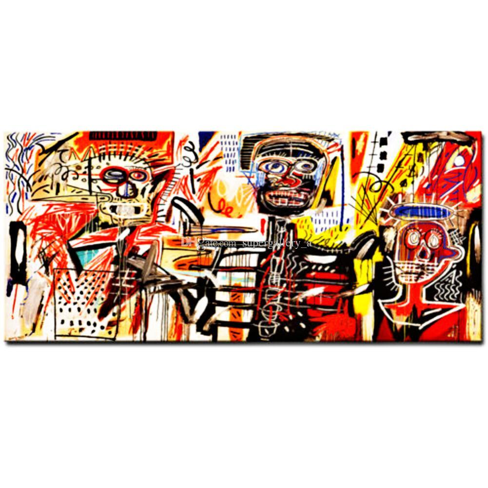 """جان ميشيل باسكيات """"الفلسطينيون"""" ضخمة كبيرة الجدار صورة اليدوية النفط الطلاء على قماش لتزيين الجدران في غرفة المعيشة"""