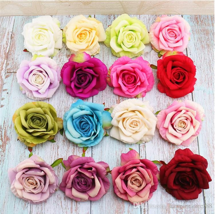 New 50pcs/lot 11cm artificial flowers silk roses heads decorative flowers DIY wedding party floral wreath Home Accessories