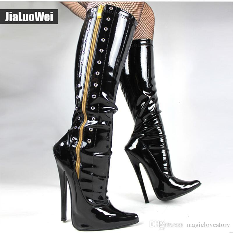 Fashion mens Over the Knee Riding Low Heel Patent Leather Zipper Pole Dance Boot