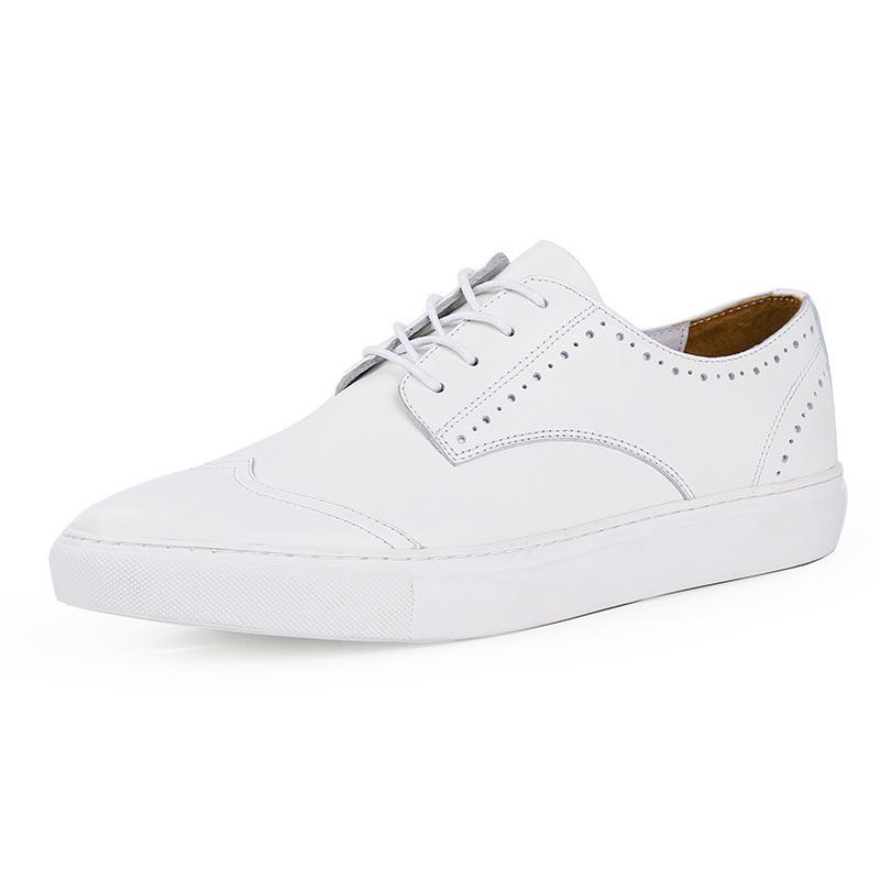 Moda Hombre transpirable blancos zapatos de cuero genuino clásico Brogue la extremidad de ala Zapatos Casual Comfort ata para arriba alrededor del dedo del pie Calzado hombre