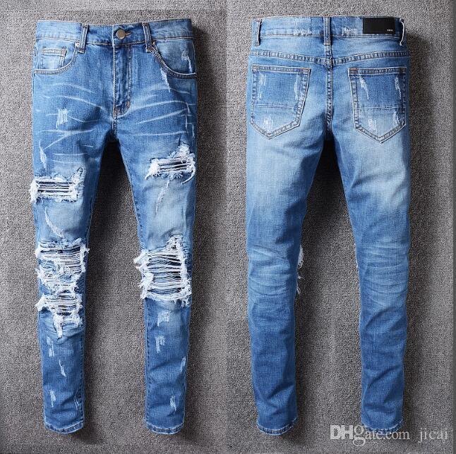 22 Designs Marke AMI Jeans Kleidung Designer Hosen Off Road Panther Black Soldier Herren Slim Denim Straight Biker Loch Hip Hop Jeans Herren # 20