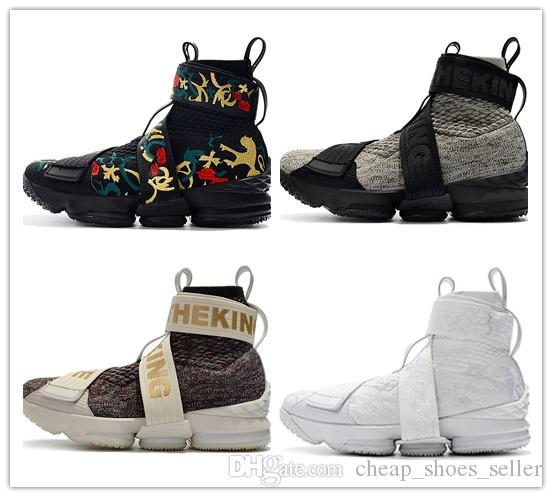 2019 최신 KITH x 15 라이프 스타일 킹 남성용 지퍼 스포츠 신발 15s 천사의 도시 킹스 크라운 망 스포츠 디자이너 신발