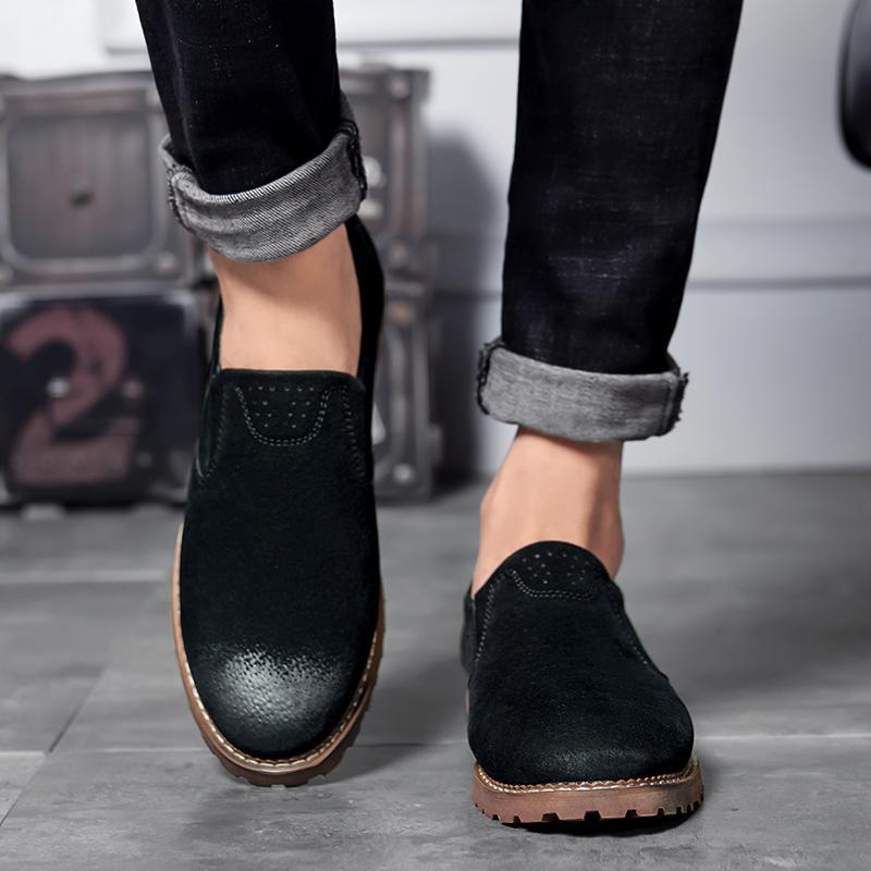 كبيرة الحجم 47 الانزلاق على أحذية الرجال المتسكعون الأسود الأخفاف الصلبة لينة أحذية رجالي عارضة أحجام كبيرة الأزياء تنفس الأزرق من جلد الغزال
