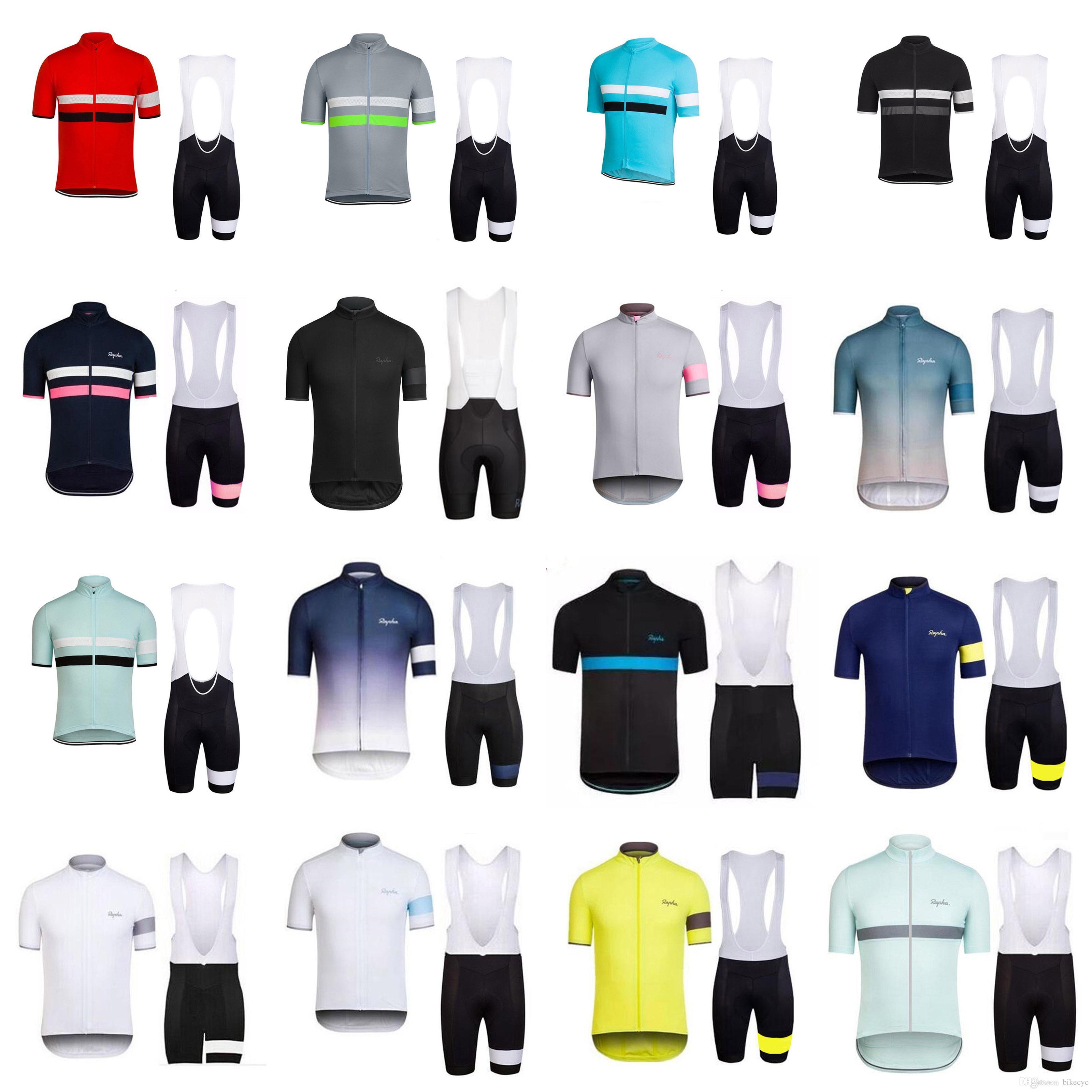 RAPHA equipo de ciclismo manga corta pantalones cortos del babero de Jersey Nueva conjuntos 2019 ropa de la bici de secado rápido usable hombres transpirable U40907
