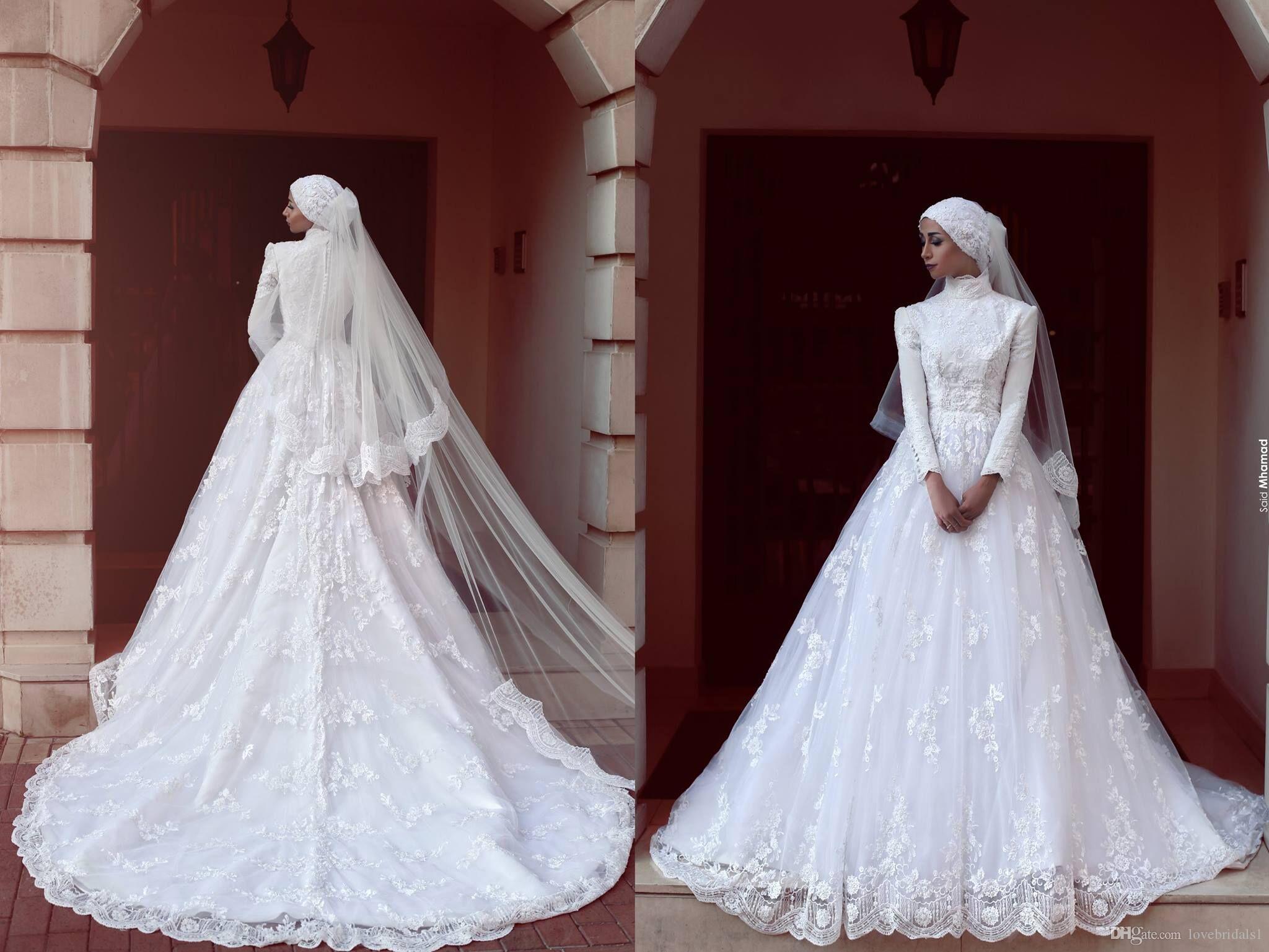 charming High Neck Muslim A Line Wedding dresses With Long Sleeves Lace Appliqued Custom Made Vestido De Novia 2020