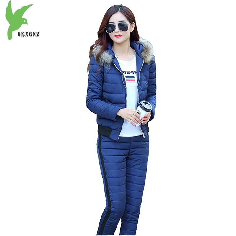 Vêtements en coton hiver de femme deux pièces Ensemble chaud Costume capuche col de fourrure courte veste + pantalon taille élastique Ensembles OKXGNZ A740