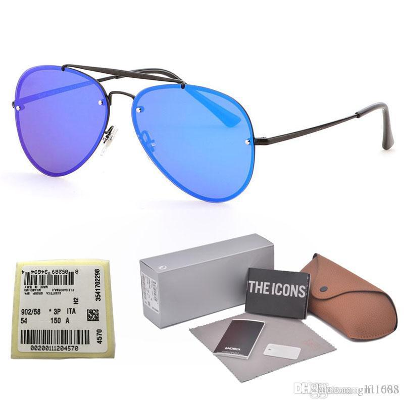 New Blaze Mirror Rivets Sunglasses Men Women Brand Design Metal frame uv400 lens Sun Glasses Traveller Oculos De Sol with cases and label