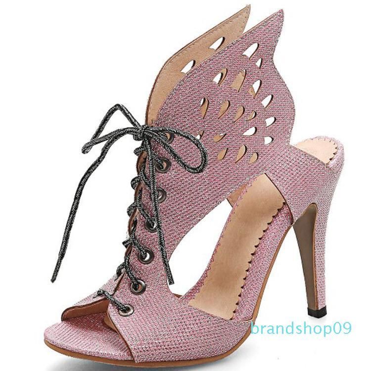 315 Yaşam yıllardır Hot2019 Sandalet Out Hollow Kadın Kanat Şekli Will Kadın ayakkabı 40-46 Yüksek İnce ile