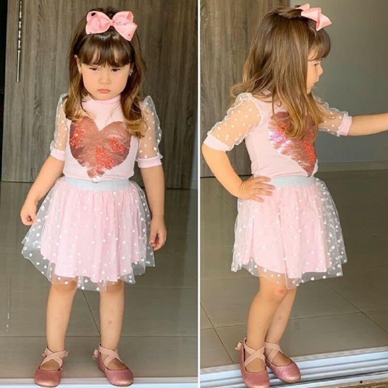 Принцесса малышей Kid Baby Girl Pink Одежда пришивания Любовь Топ Футболка кружева юбка партии Outfit 1-5Y